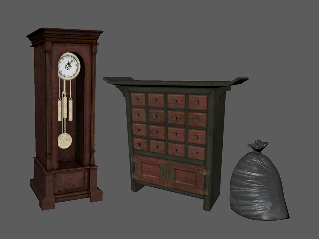 Dead Secret Circle--Rose's chest, grandfather clock, and a trash bag