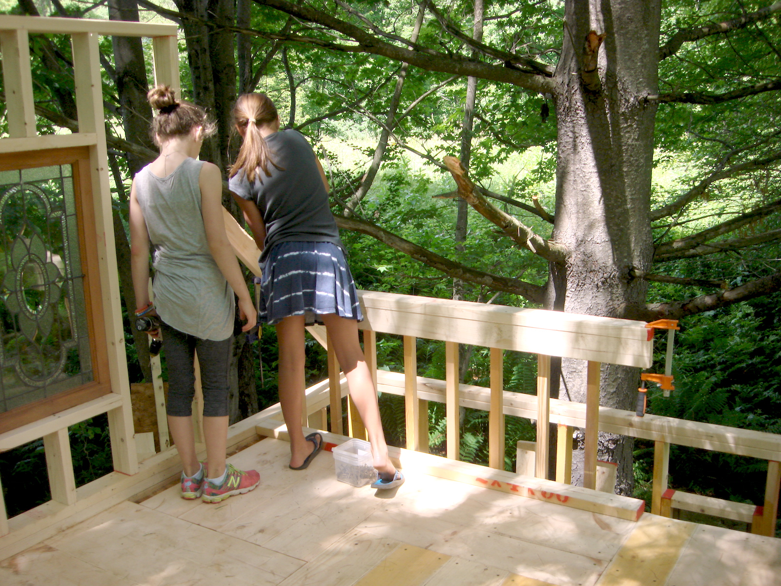 Kate and Amy install loft railing