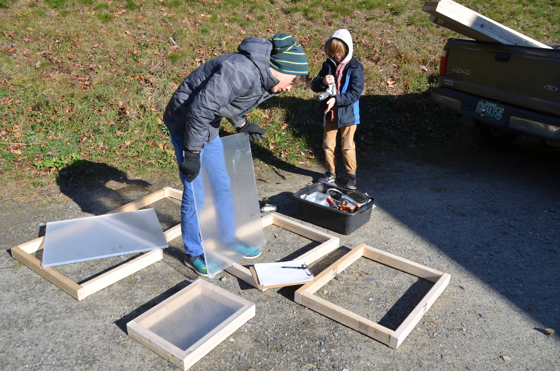 Hale sorting out the plexiglass with its corresponding 2x3 frame.