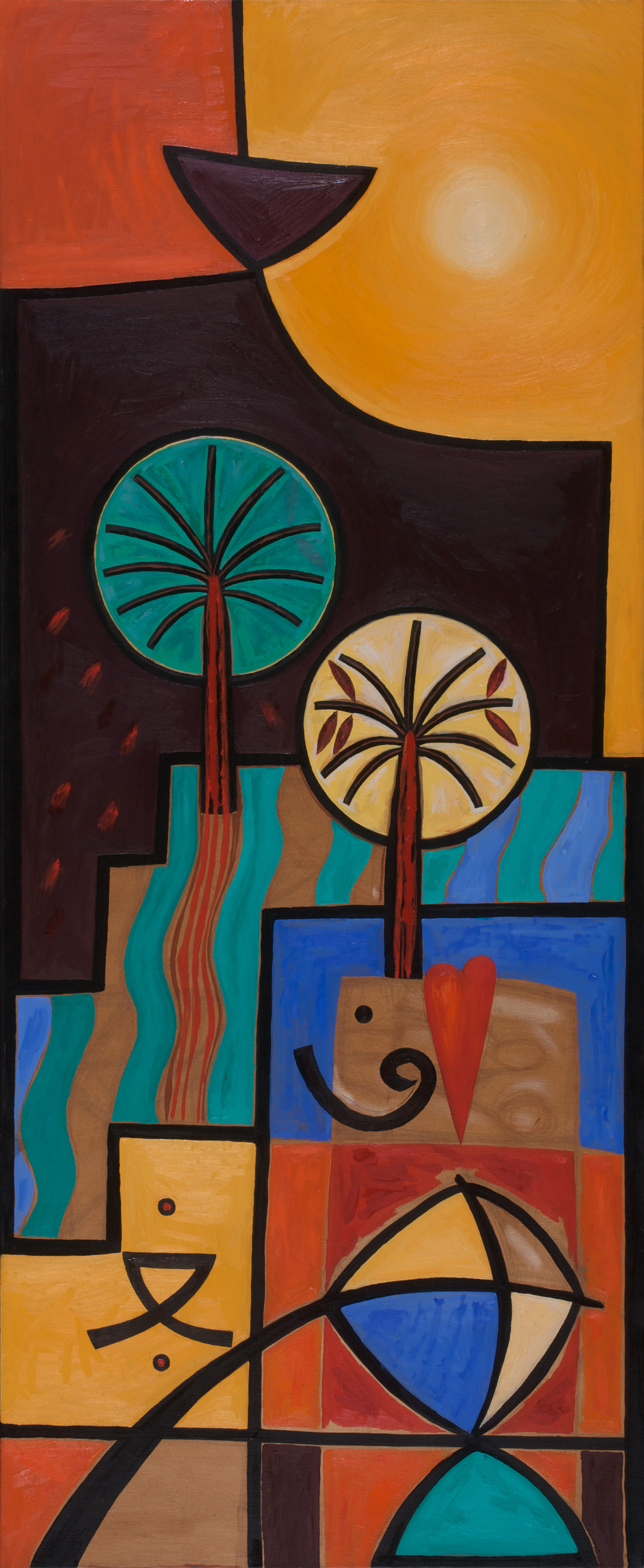 Sabha  Kites and Shattered Dreams  Oil on canvas 150x60cm 2008  Barjeel Collection  UAE