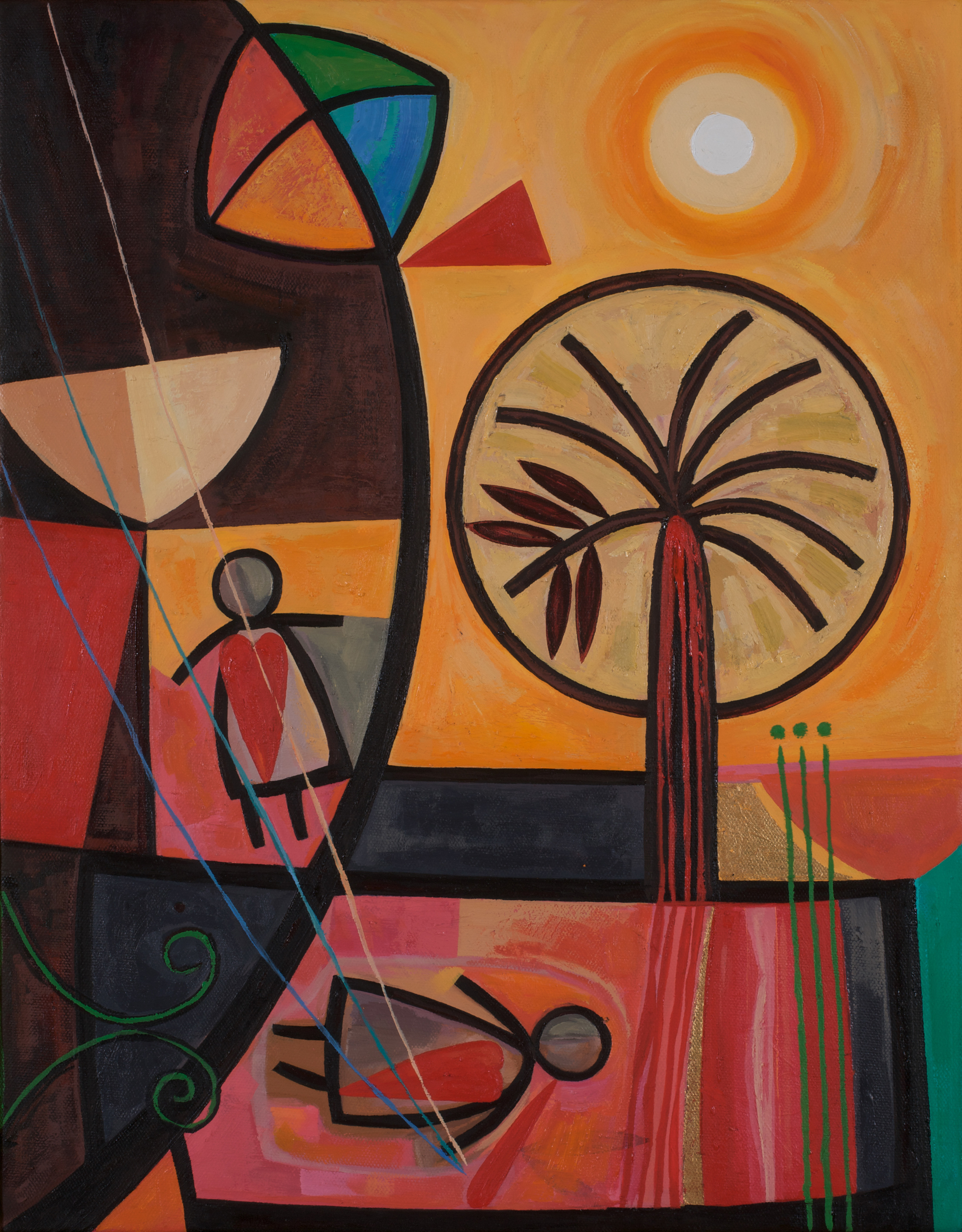 Munira  Kites and Shattered Dreams  Oil on canvas 45x35cm 2008 Breish Collection UK