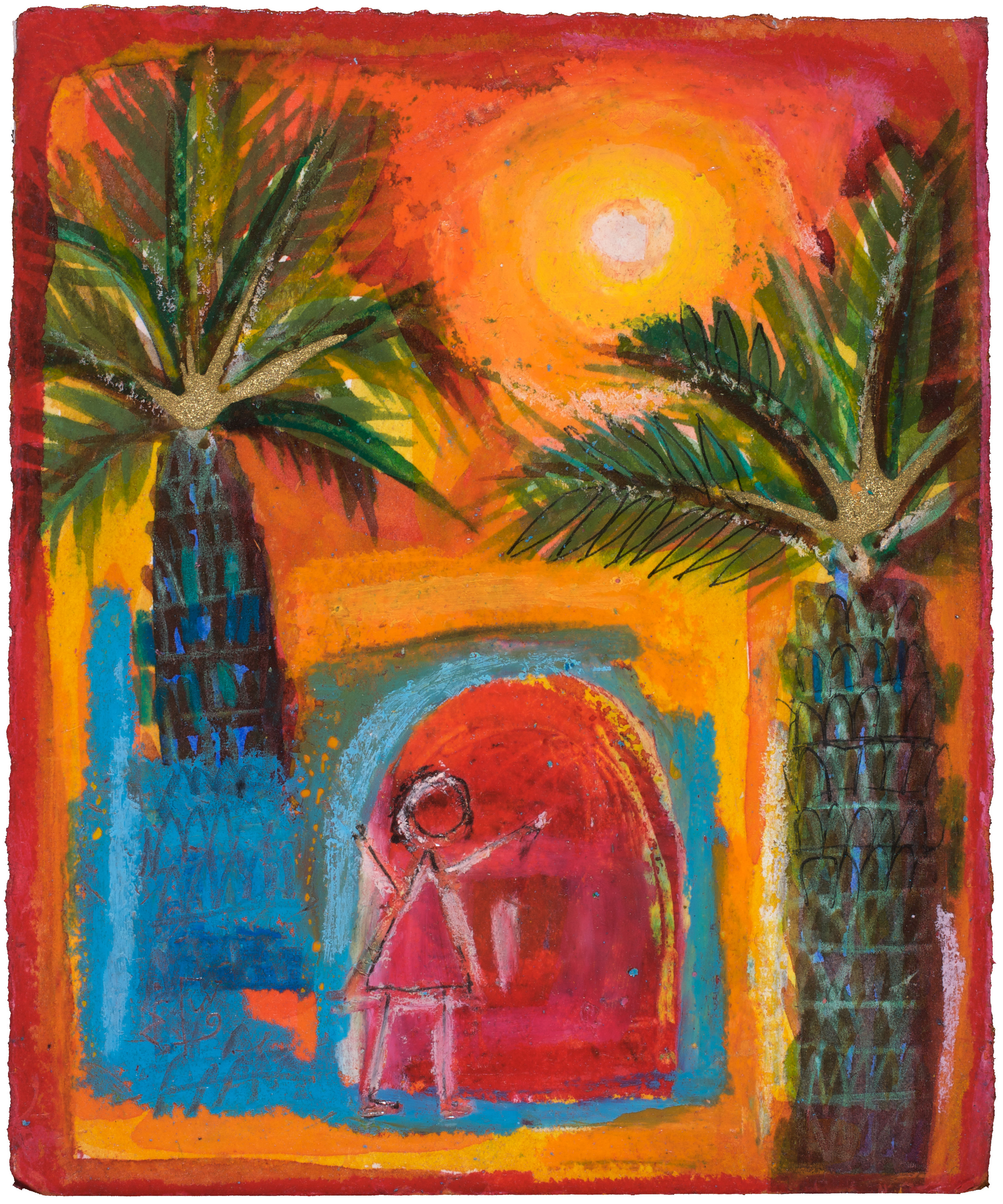 Saadiya  Weeping Palms Stolen Childhoods  Watercolor 17x14cm 2004 Private Collection UK