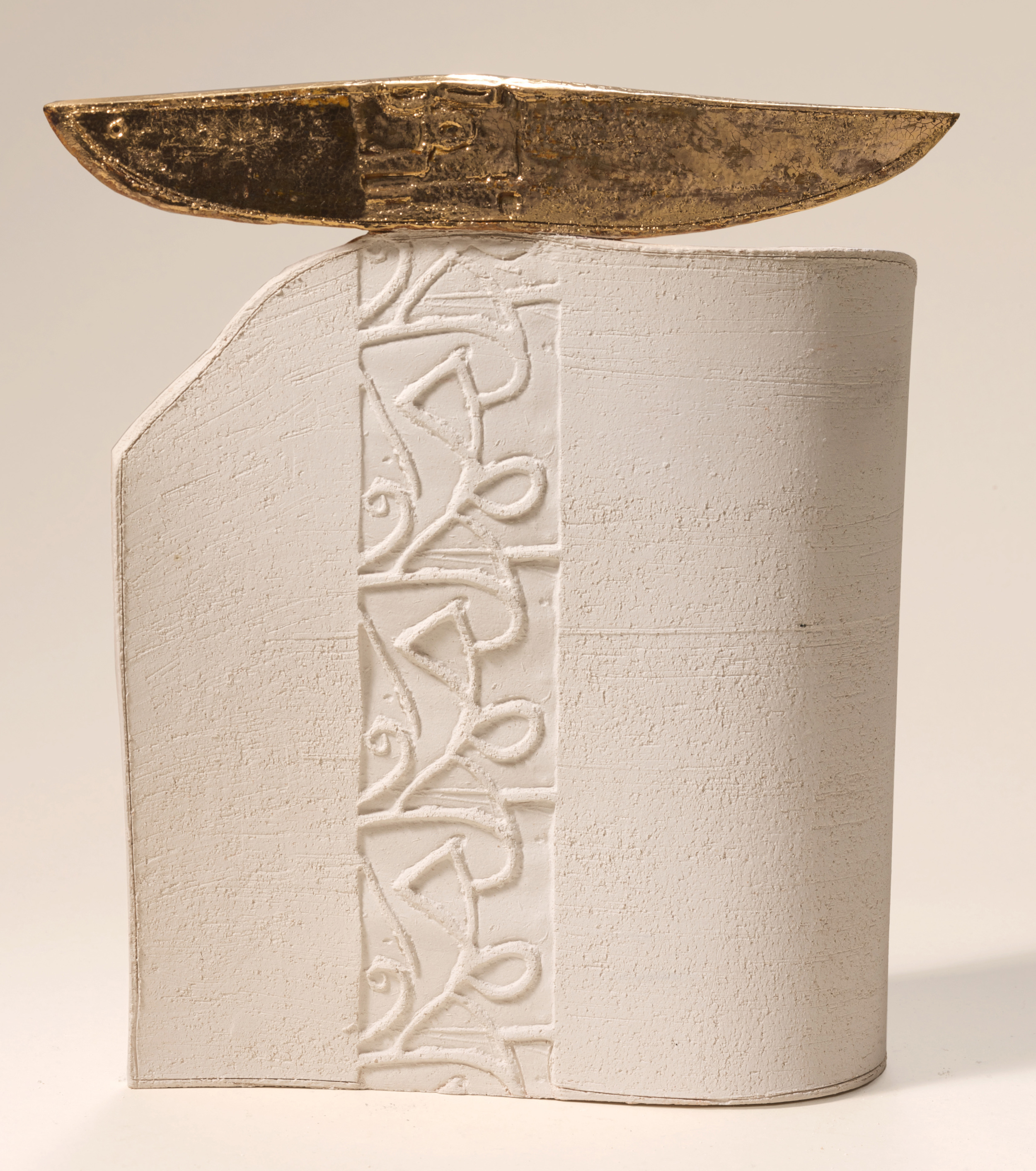 Golden Boat   Earthstone and gold 27x35cm 2008 Private Collection UK