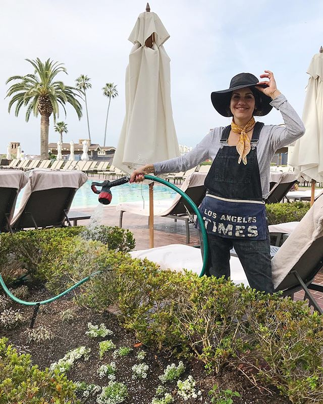I think I'm tipping my hat off to a productive day in this photo, and I have to say it definitely was. The @montagelaguna asked us to reimagine several unused planter areas in front of their cabanas by the pool. What was an empty barren space became a garden planted with specialty herbs and edible flowers. Once the garden grows we will be harvesting these herbs and flowers for the resort to create specialty cocktails for their guests!! . . #montagelagunabeach #resortliving #chefgarden #ediblelandscaping #culinarygarden #organicgardening #specialtycocktails