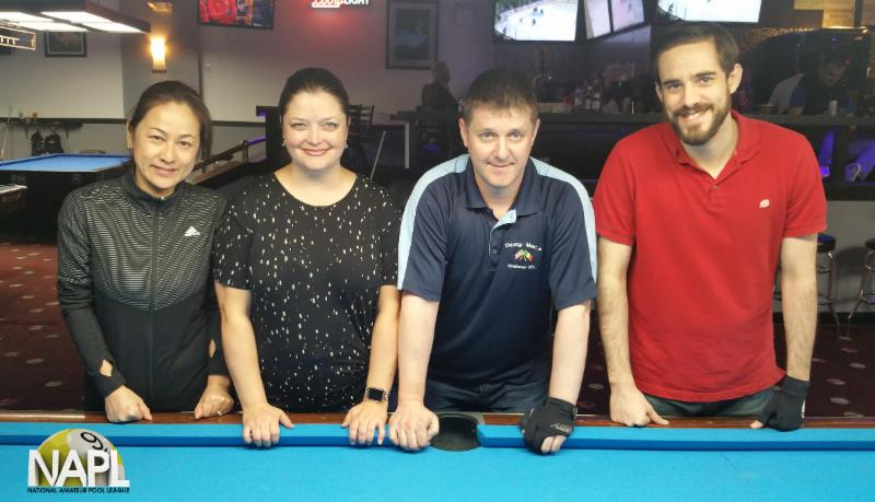 NAPL Winter/Spring 2018 Singles 9-Ball Championship Final Four L-R:  Kanami Chau (3rd), Allison LaFleur (2nd), Julian Tierney (4th), and Andrew Tasso (1st)