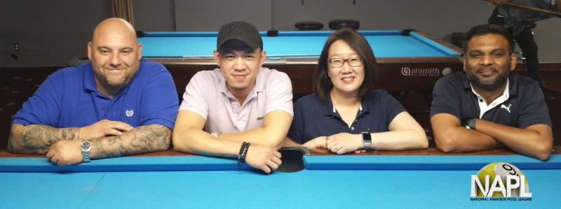 NAPL Summer 2018 Singles 9-Ball Championship Final Four   L-R: Steve Viras (4th), Mark Zamora (3rd), Irene Kim (2nd), and Keith Jawahir (1st)