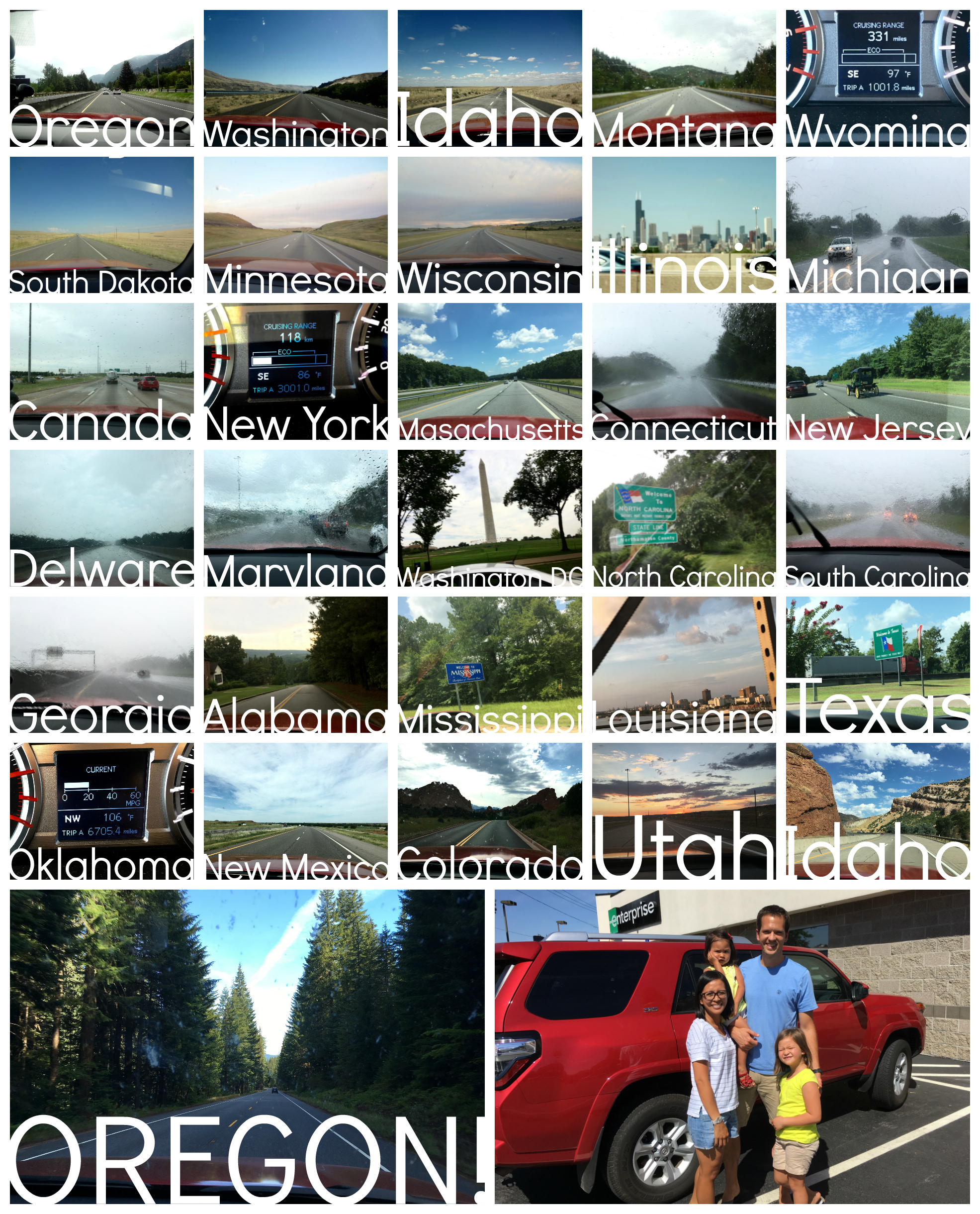 We didn't get a photo of every state we visited or drove through, so there are a few missing in this collage.