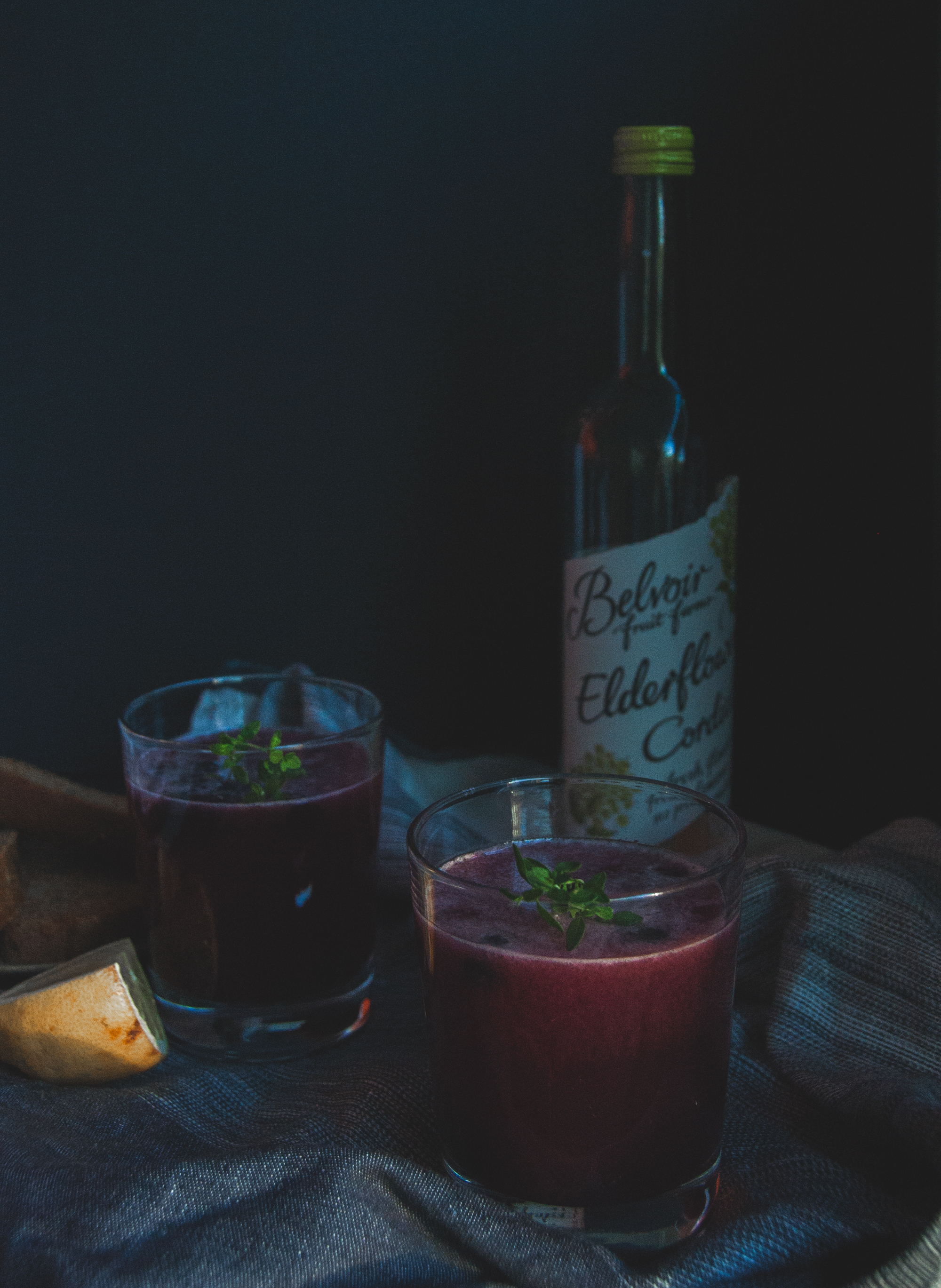 Thyme infused blueberry elderflower lemonade