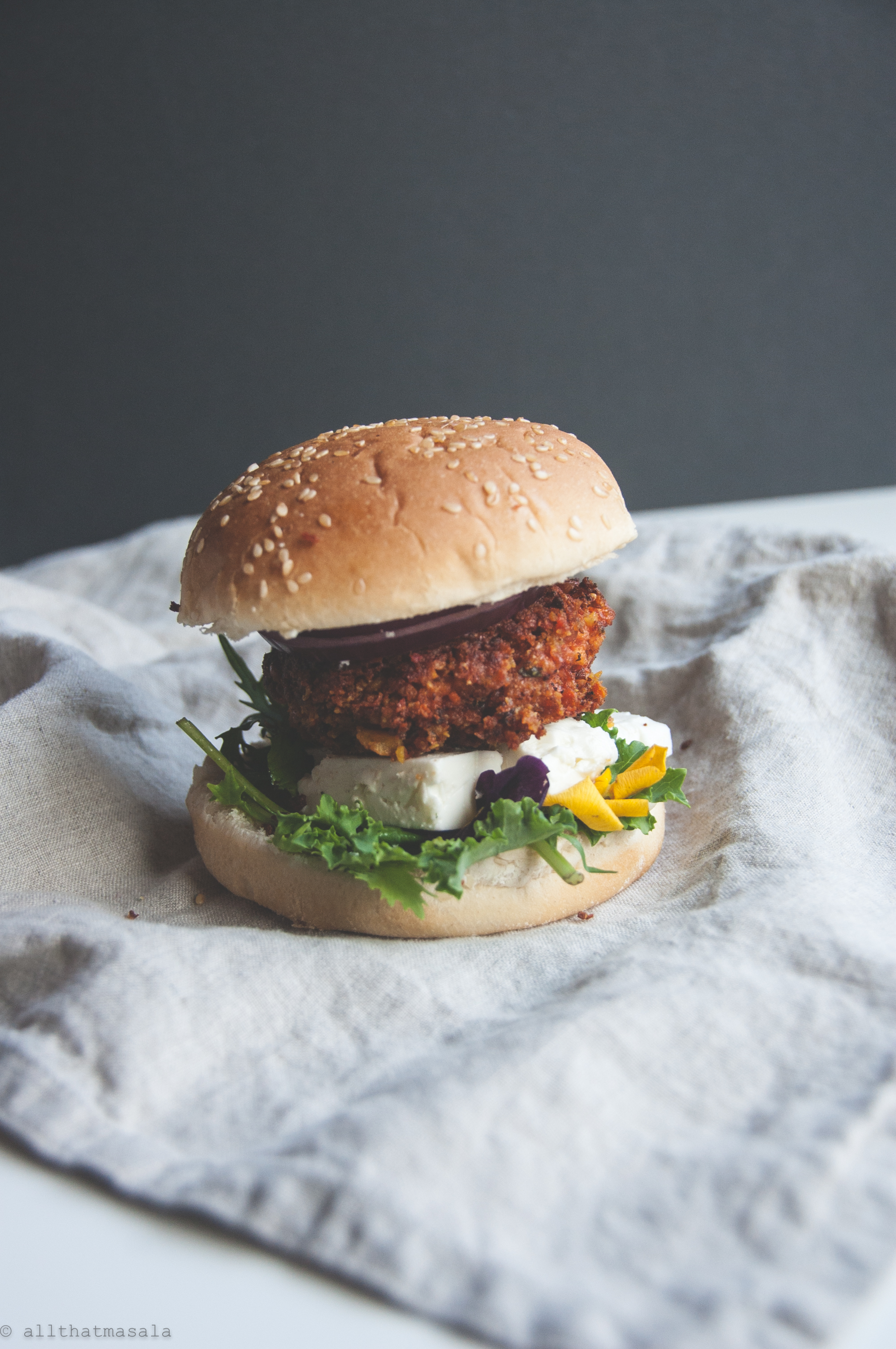 Vegan burger made out of paneer and chickepea, any day better than the meat burger patties!