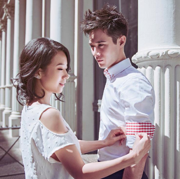 Designer Alice Yim wearing her SS17 design, Koki Tomlinson wearing Shirtologi bespoke shirt and pants