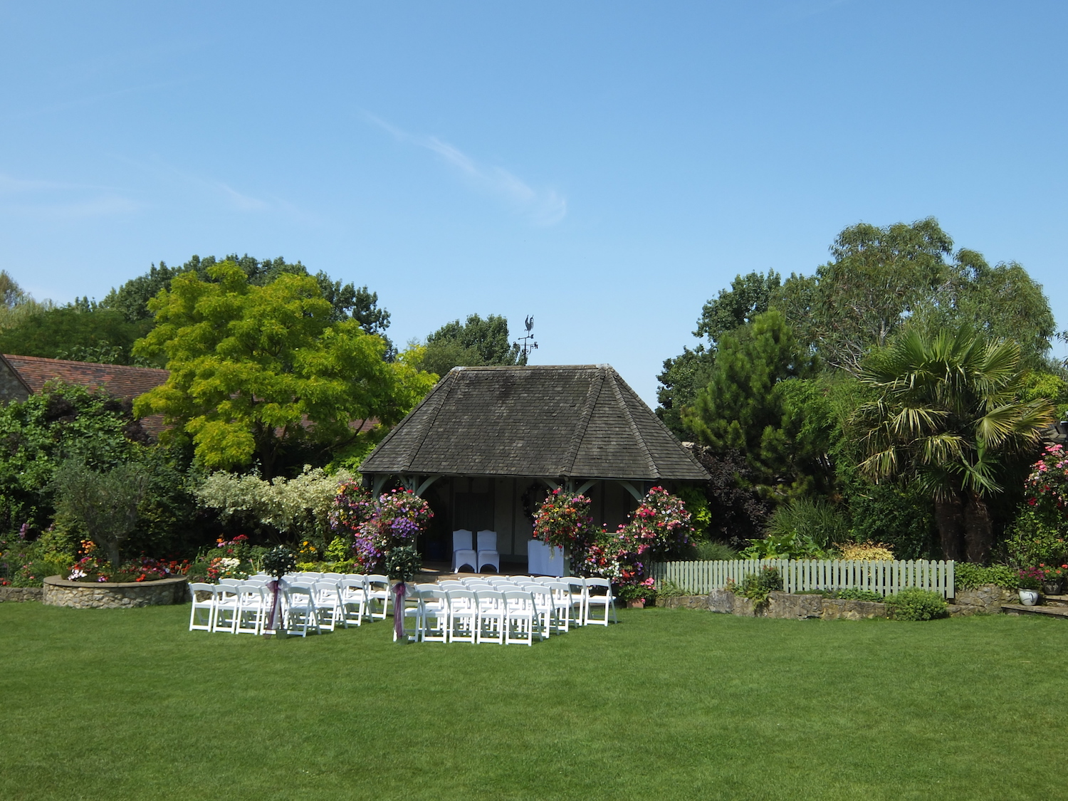 Outside ceremony in our gardens (we can't promise this weather every time!)
