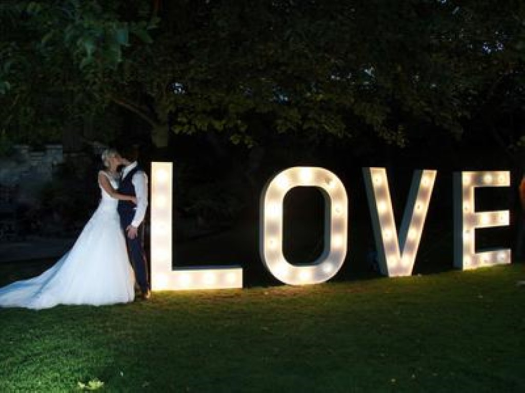 Love sign at night in the garden