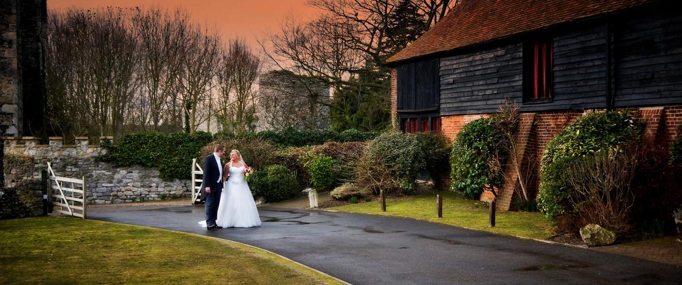 Winter wedding with walking bride and groom