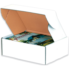 Deluxe literature white cardboard mailers Click to Order