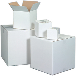 White corrugated shipping boxes