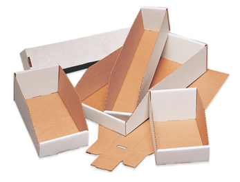 Shelf Bin Boxes - White corrugated warehouse bins, stackable and rack bin box carry totes and dividers
