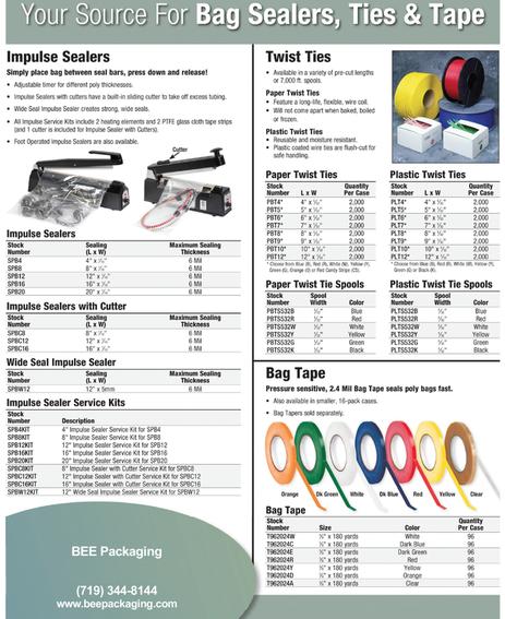 Poly bag heat sealers twist ties bag tapes