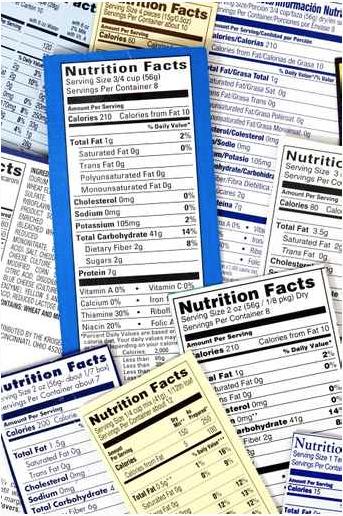 Food ingredient labeling labels