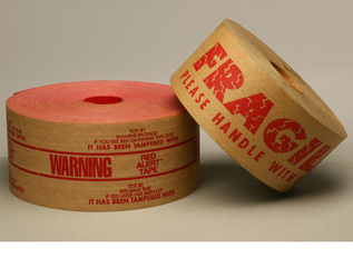 Printed gummed tapes with logo or fragile warning