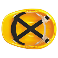 Yellow construction safety hard hats