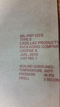 Mil-PRF-121G Mil-spec packaging bag sheets rolls