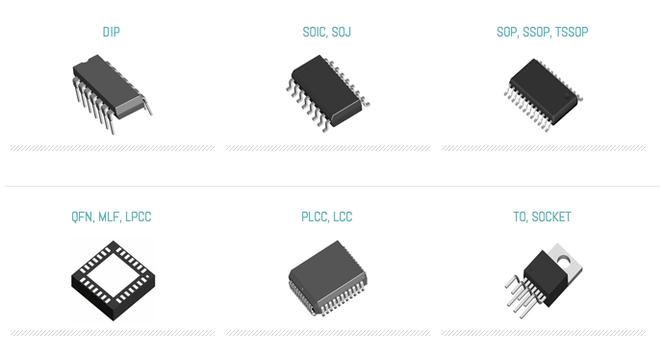 Semiconductor integrated circuits IC chip Types: dip soic soj sop ssop tssop qfn mlf lpcc plcc lcc to and socket