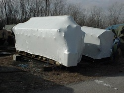White boat helicopter wrap film