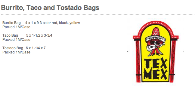 Mexican food burrito taco tostada bags plain and printed (minimum order 25,000 bags)