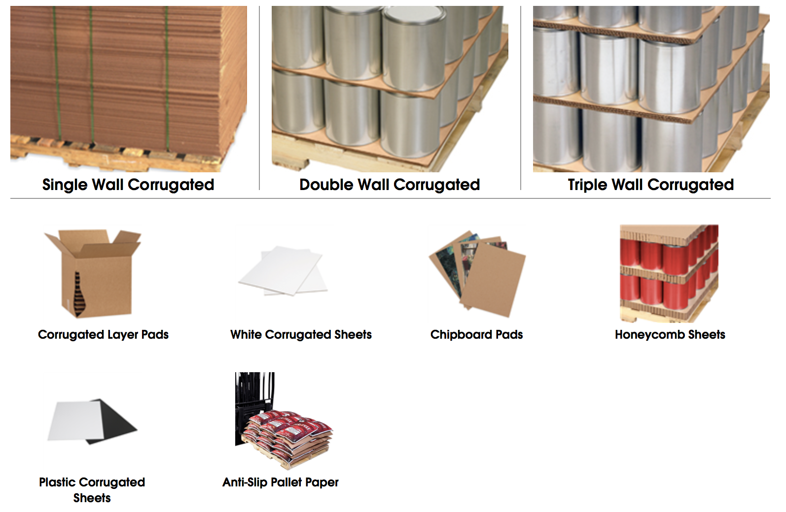 Corrugated sheets & layer pads - Click image to order