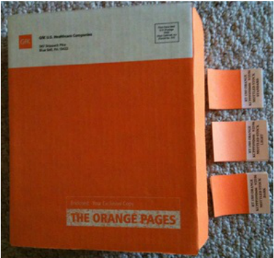 GCMI Orange flexo printed tuck top health care box.  Ink color shades can vary at time of printing. Standard #3 oyster white corrugated board material no varnish.