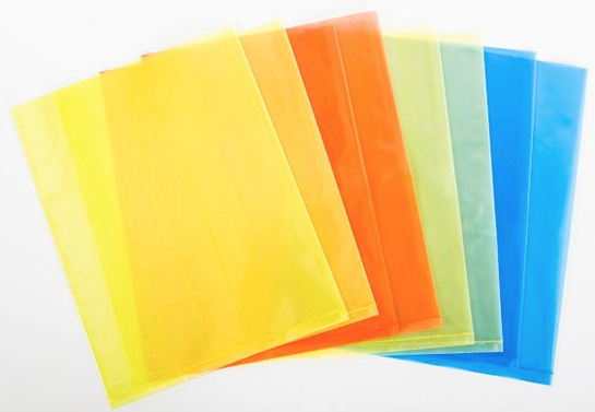 Translucent and opaque colored plastic polyethylene bags