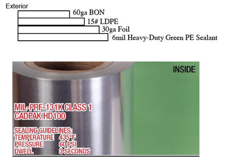 PN# BEECADPAKHD100   Mil-PRF-131k Class 1 7.9mil Green nylon foil milspec military barrier rollstock Mil-DTL-117 Type 1, Class E, Style 1