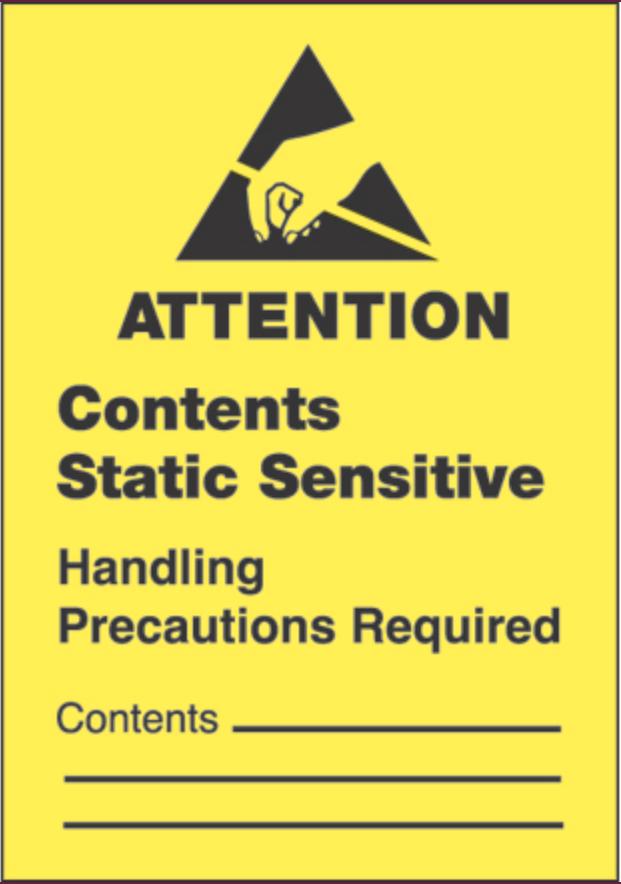 """1   3/4   x 2   1/2  """" - """"Contents Static Sensitive"""" Labels"""