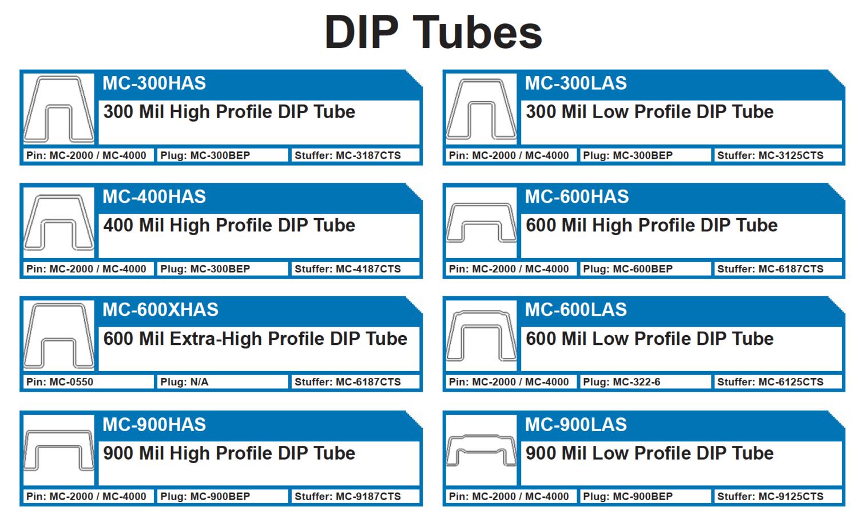 DIP TUBES   MC-300HAS 300 Mil High Profile DIP - MC-300LAS 300 Mill Low Profile DIP - MC-400HAS 400 Mil High Profile DIP  MC-600HAS 600 Mil High Profile DIP, MC-600XHAS600 - MC-600LAS Mil Low Profile DIP - MC-900HAS 900 Mil High Profile DIP  MC-900LAS 900 Mil Low Profile DIP Plastic antistatic ic shipping tubes and plugs for integrated circuits.  300DIP, 400DIP, 600DIP, 900DIP, MC-600HAS, MC-300, MC-400, MC-900, 400HAS Plugs: MC-300BEP, MC-600BEP, MC-322-6, MC-900BEP Pins: MC-2000 / MC-4000, MC-0550 Tube Stuffers: MC-3187CTS, MC-3125CTS, MC-4187CTS, MC-6187CTS, MC-6125CTS, MC-9187CTS, MC-9125CTS