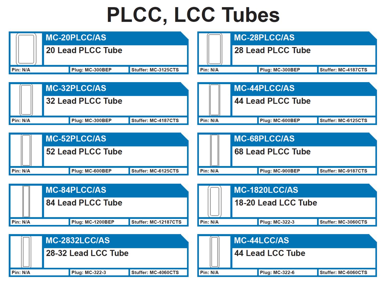 PLCC, LCC INTEGRATED CIRCUIT PLASTIC SHIPPING TUBES ANTISTATIC   MC-20PLCC/AS 20 Lead PLCC Tube - MC-28PLCC/AS 28 Lead PLCC Tube - MC-32PLCC/AS 32 Lead PLCC Tube - MC-44PLCC/AS 44 Lead PLCC Tube - MC-52PLCC/AS 52 Lead PLCC Tube - MC-68PLCC/AS 68 Lead PLCC Tube - MC-84PLCC/AS 84 Lead PLCC Tube - MC-1820LCC/AS 18-20 Lead LCC Tube - MC-2832LCC/AS 28-32 Lead LCC Tube - MC-44LCC/AS 44 Lead LCC Tube  Lead protection tubes.  18LCC, 20PLCC, 32LCC, 28PLCC, 32PLCC, 44LCC, 44PLCC, 52PLCC, 68PLCC, 84PLCC, MC-44PLCC/AS, MC-52, MC-84, MC-20  Plugs: MC-300BEP, MC-600BEP, MC-1200BEP, MC-322-3, MC-322-6 Pins: N/A Tube Stuffers: MC-3125CTS, MC-4187CTS, MC-6125CTS, MC-9187CTS, MC-2187CTS,  MC-3060CTS, MC-4060CTS, MC-6060CTS