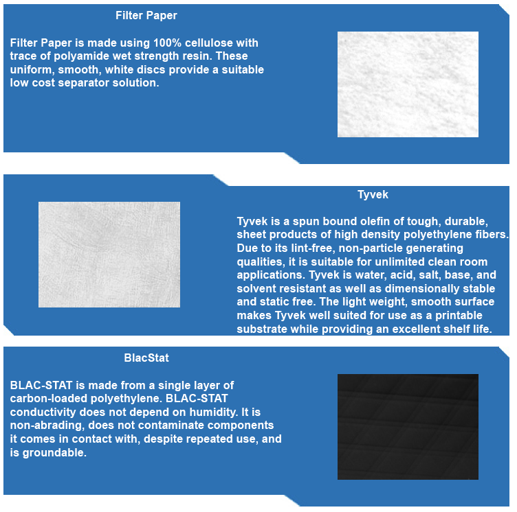 Types of wafer sheet separators filter paper tyvek discs and black stat conductive paper