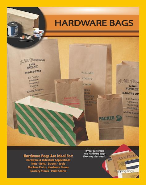 Brown paper sacks wine liquor hardware parts bags