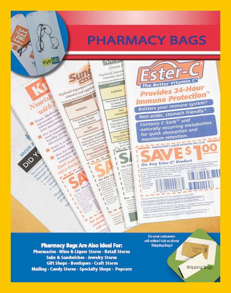 Pharmacy Bags white or kraft printed paper drug rx bag