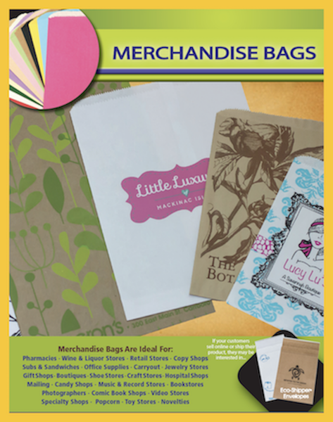Paper shopping merchandise bags books comics gifts candy custom printing available