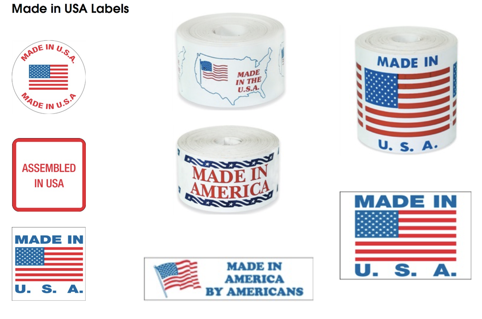 American flag labels made in USA stickers