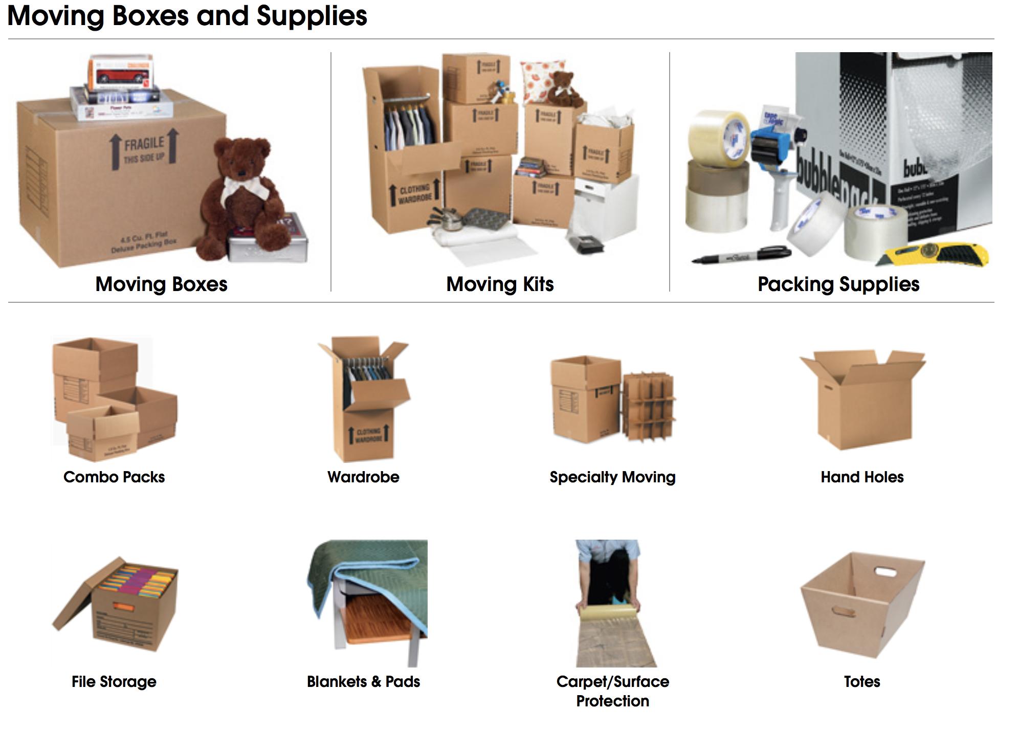 Moving boxes wardrobe box dish packs storage