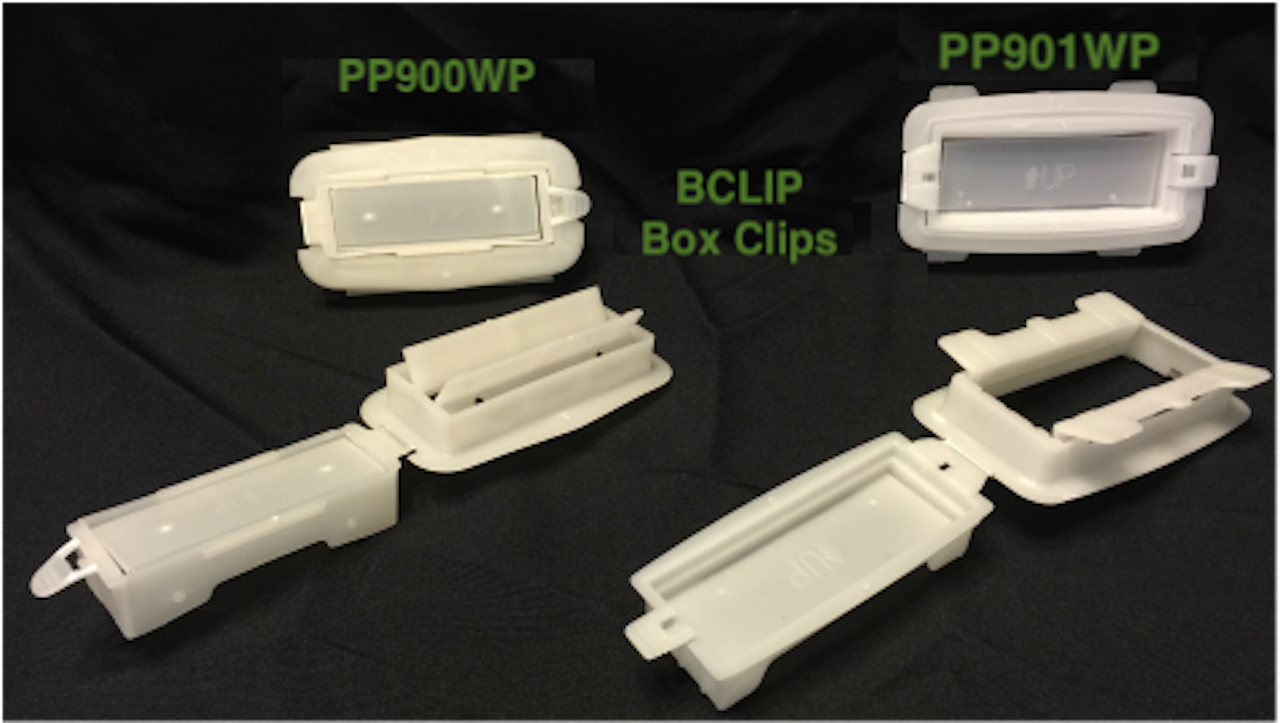 Smaller 900WP and larger 901wp Bclip reinforcing box clip carry handle fasteners