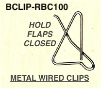 Metal Wire Bclips for holding boxes flaps open closed on assembly lines and milspec military packaging applications
