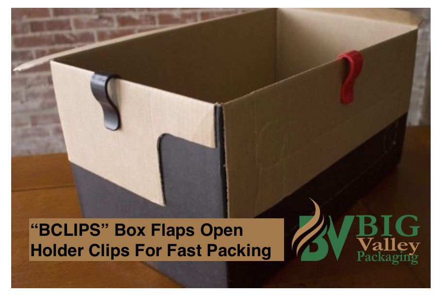 Red Black or Yellow Plastic Clips BCLIPS hold flaps down keeping boxes open for packing