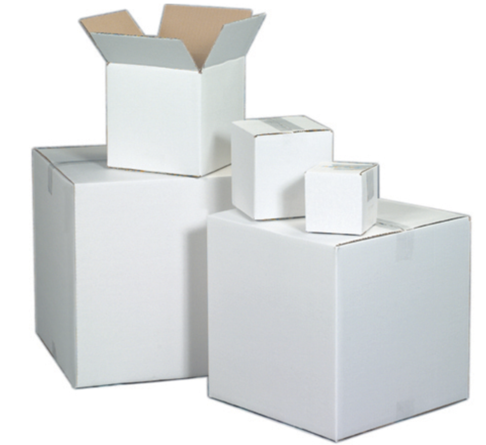 White cardboard boxes ship store pack your manufactured products