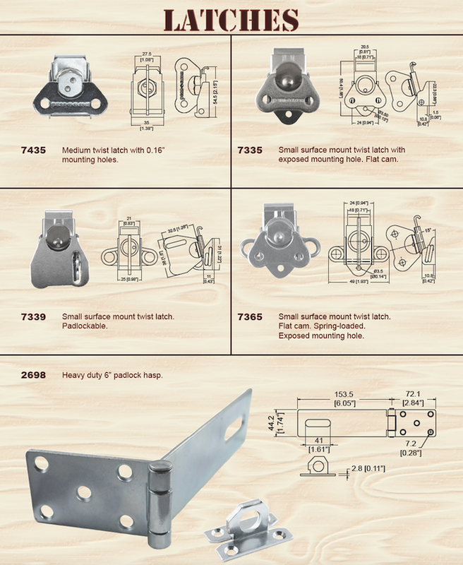 Medium latch small twist lock crate latches and metal hasps