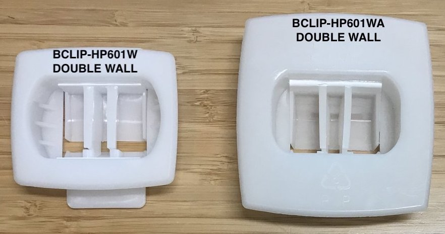 BCLIP Comparison of HP601W double wall connecting box clip vs. HP601WA heavy duty wide face front fastener for tall large corrugated packs