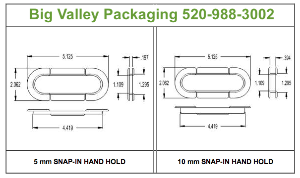 Snap in hand hold reinforcers are heavy duty oval clips to keep box handle hole area from tearing.