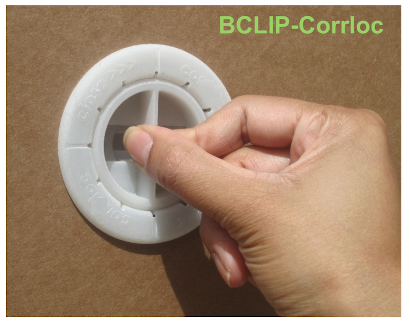 Locking tamper evident Bclip corrloc roto lock for triple wall tri-wall boxes hybrid wood corrugated packs. *Current material clip parts are battleship grey color. White is custom run order.