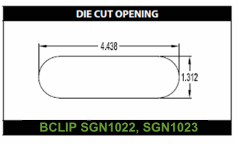 Die cut hole for SGN1022 SGN1023 carry clips